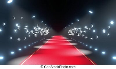 4k 3D red carpet, flash lights animation - show/ paparazzi ...
