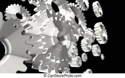 4K 3D render animation of silver rotation gear on dark...