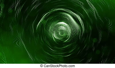 4k 3d render of glow particles on dark green background as abstract seamless background with depth of field and bokeh. Science fiction or microcosm with round structures. 3d Loop animation. 3