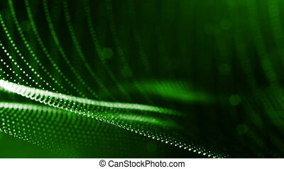 4k 3d render of glow particles on dark green background as...