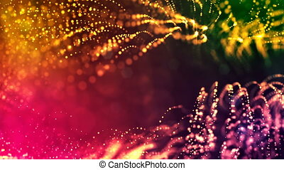 4k 3d render of glow particles on dark multicolor background as abstract seamless background with depth of field and bokeh. Science fiction or microcosm with dots. 3d Loop animation. 1