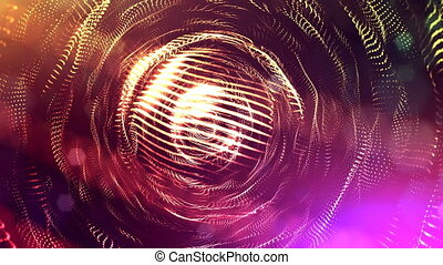4k 3d render of glow particles on dark multicolor background as abstract seamless background with depth of field and bokeh. Science fiction or microcosm with round structures. 2