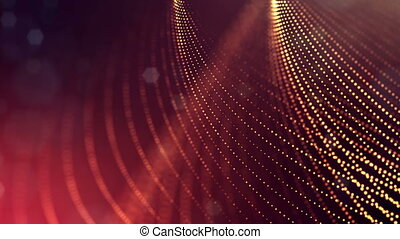 4k 3d render of glow particles on dark red golden background as abstract seamless background with depth of field and bokeh. Science fiction or microcosm with strings. 3d Loop animation. 3