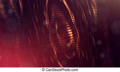 4k 3d render of glow particles on dark red golden background as abstract seamless background with depth of field and bokeh. Science fiction or microcosm with round structures. 3