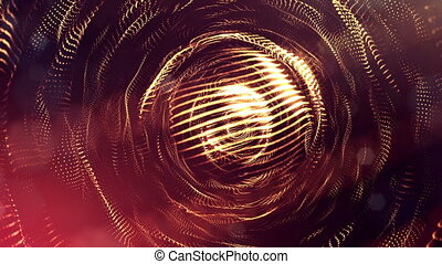 4k 3d render of glow particles on dark red golden background as abstract seamless background with depth of field and bokeh. Science fiction or microcosm with round structures. 1