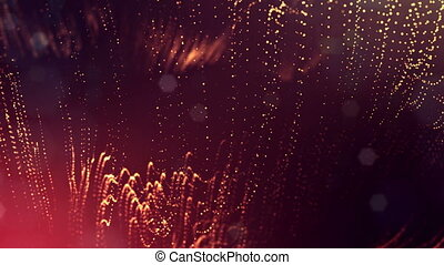 4k 3d render of glow particles on dark red golden background as abstract seamless background with depth of field and bokeh. Science fiction or microcosm with garland. 3d Loop animation. 3