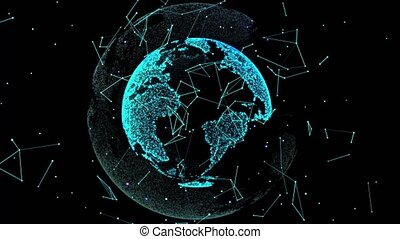 4k 3d rendering of the earth conveying the modern digital. loops seamlessly. Planet earth rotating animation