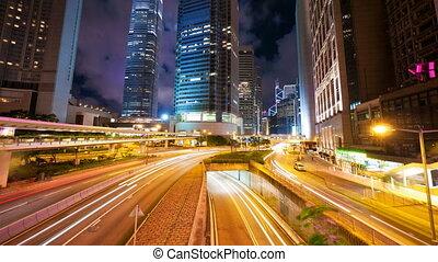 4k (4096x2304) timelapse in motion, Street traffic in Hong Kong at night