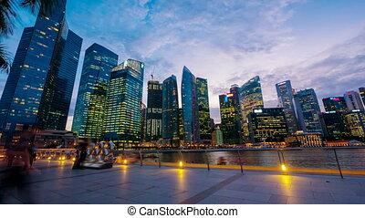 4k (4096x2304) timelapse, Singapore, Sunset at Marina bay quay