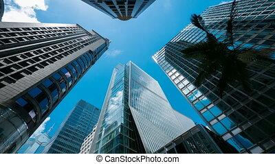 4k (4096x2304) timelapse, Skyscrapers over blue sky