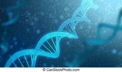 4K Abstract background 3D DNA with particle and grain...