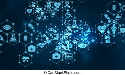 4K Abstract background Animation moving pass through dot and connection line with medical and health icon for futuristic cyber technology over dark background