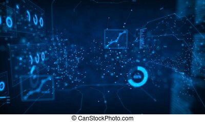 4K Abstract background Dot circle with connection for futuristic network  cyber connect concept with dark and grain processed