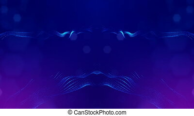 4k abstract background of glowing blue particles with shining bokeh sparkles. Dark composition with oscillating luminous particles. Science fiction. Smooth animation looped. 10
