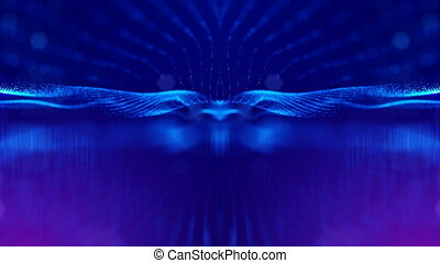 4k abstract background of glowing blue particles with shining bokeh sparkles. Dark composition with oscillating luminous particles. Science fiction. Smooth animation looped. 9
