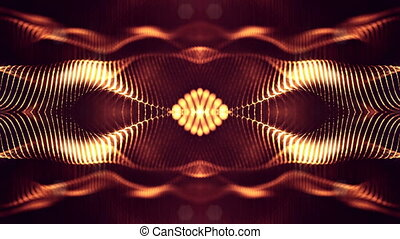 4k abstract background of glowing golden red particles with shining bokeh sparkles. Dark composition with oscillating luminous particles. Science fiction. Smooth animation looped. 9