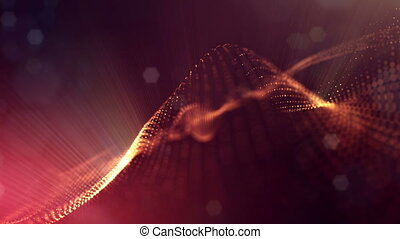 4k abstract background of glowing golden red particles with shining bokeh sparkles. Dark composition with oscillating luminous particles. Science fiction. Smooth animation looped. 13
