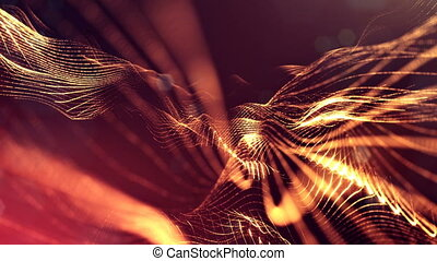 4k abstract background of glowing golden red particles with shining bokeh sparkles. Dark composition with oscillating luminous particles. Science fiction. Smooth animation looped. 23
