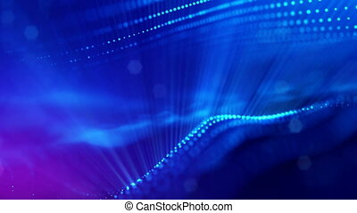 4k abstract background with smooth looped animation of glowing particles, shining bokeh sparkles. Sci-fi blue composition with oscillating luminous particles. Motion graphics 1