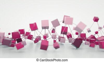4K Abstract Blockchain Concept. Seamless Loop
