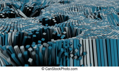 4K Abstract Cubes Undulating in Waves.