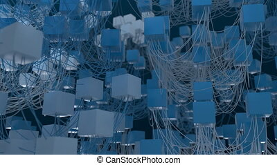 4K Abstract Cubic Network Nodes and Wires. Seamless loop.