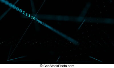 4K Abstract dark background 3D Particle with digital binary number 0 1 moving for cyber futuristic concept