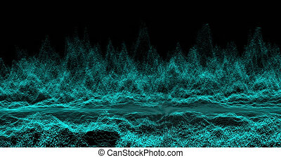 4K Abstract dark background with moving loop and flicker particles.Motion graphic Backdrop of ball dot Animation of seamless.Digital blue-green color wave light loopable. Beautiful footage video.
