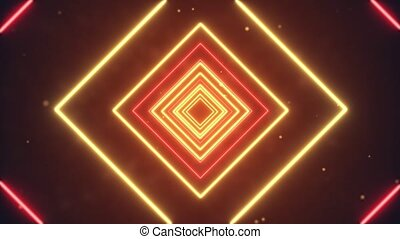 4k Abstract Digital Neon Polygon Loop Animation background. Abstract digital cg red and Golden light Lines. logo titles in award, music, wedding, anniversary, party presentation backdrops corporate.