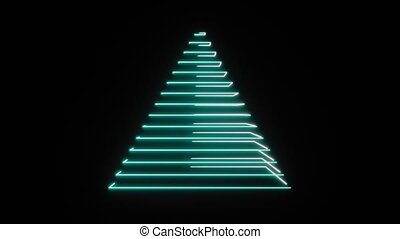4K Abstract Digital Neon Pyramid. Seamless Loop.