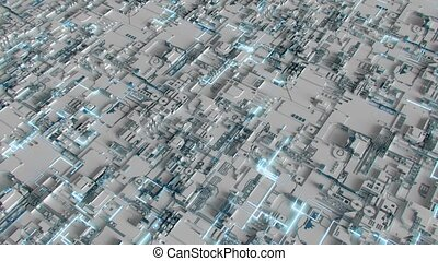4K Abstract Futuristic Motherboard Circuit. Highly realistic CGI animation.