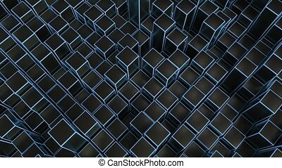 4K Abstract Geometric Cubes. Seamless Loop. Technology...