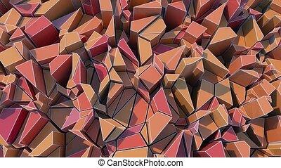 4K Abstract Geometric Shards. 3D CGI animation. Seamless...