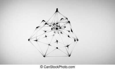 4K Abstract Glass Molecular Structure. Seamless Loop.