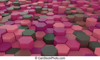 4K Abstract Honeycomb Grid. Technology background. 3D...
