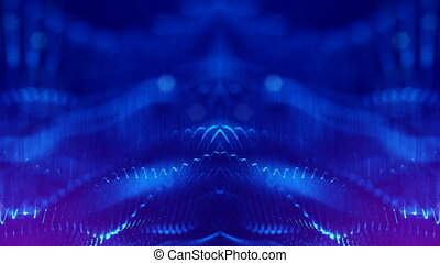 4k abstract looped backgrounds with glow particles with depth of field. Science fiction background of microworld or space.