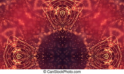 4k abstract looped backgrounds with luminous particles with depth of field. Science fiction background. Golden red dot structures 19