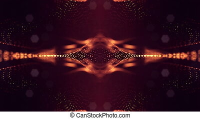 4k abstract looped backgrounds with luminous particles with depth of field. Science fiction background. Golden red dot structures 13