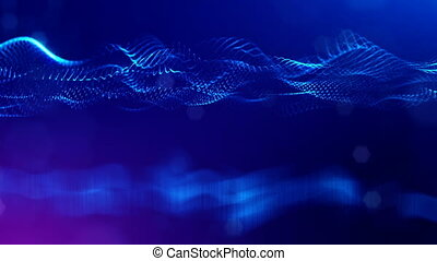 4k abstract looped backgrounds with luminous particles with depth of field. Science fiction background. Blue dot structures 7
