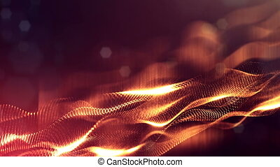 4k abstract looped backgrounds with luminous particles with depth of field. Science fiction background. Golden red dot structures 34