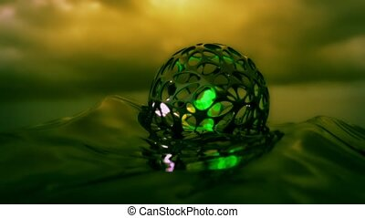 4K Abstract spheres in an organic cage. 3D CGI animation.