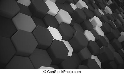 4K Abstract Tech Honeycomb Grid. 3D Animation. Seamless...