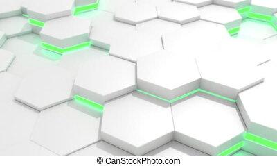 4K Abstract Tech Honeycomb Grid. Seamless loop