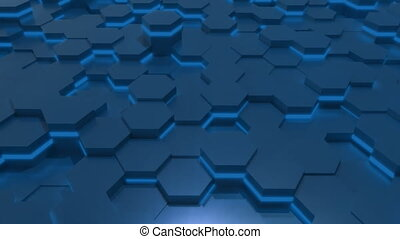 4K Abstract Tech Honeycomb Grid. Seamless loop