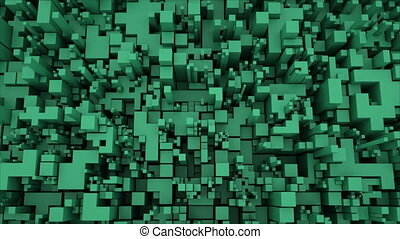 4K Abstract Technology Cube Background. Seamless Looping