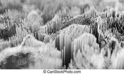 4K Abstract Topographic Waveform. 3D CGI Animation. Seamless...