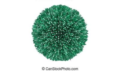 4K Abstract Undulating Sphere. Seamless Loop
