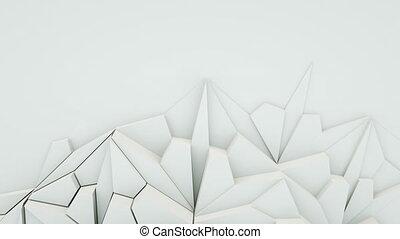 4K Abstract white polygonal shape. Seamless loop.