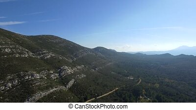4K Aerial, Beautiful views over a mountain range in Spain
