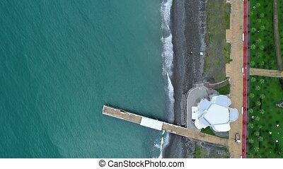 4k aerial drone view of beach in Batumi